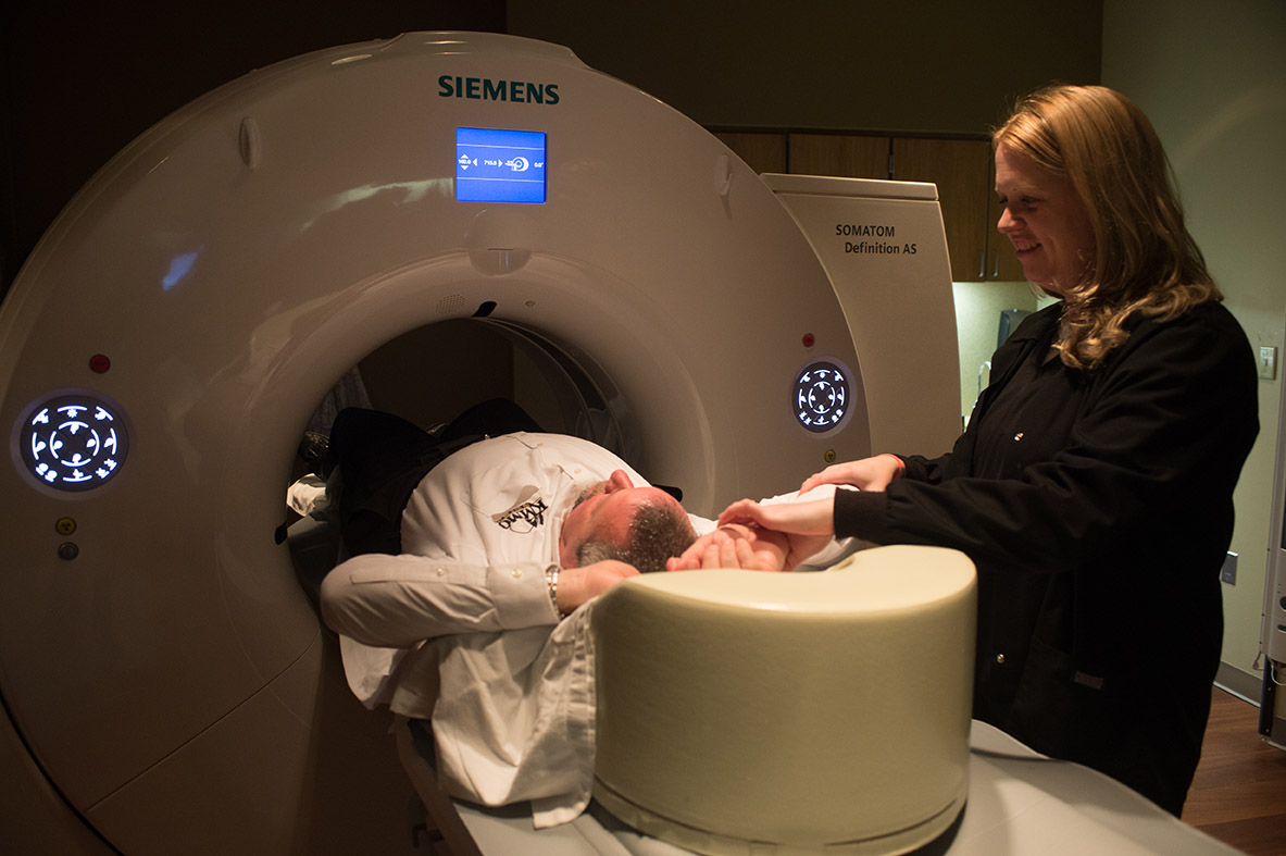 Patient being scanned in Fitzgibbon Hospital's Radiology Department
